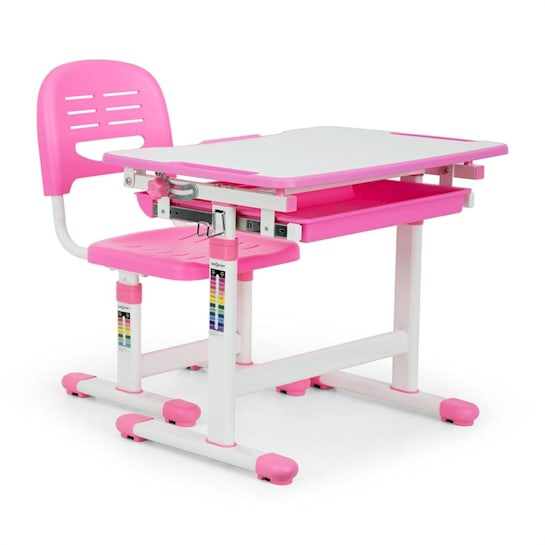 Annika Children's Desk Set 2pcs. Table Chair Height Adjustable Pink