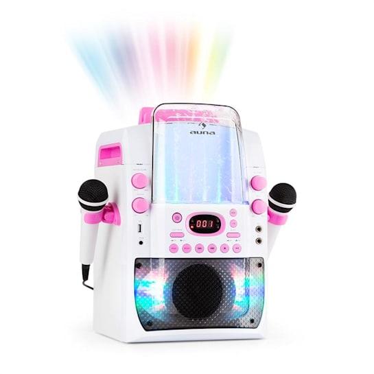Kara Liquida BT Chaîne karaoké Jeu de lumières Fontaine d'eau Bluetooth - blanc/rose