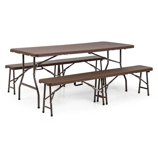 Burgos meble ogrodowe stół 2 ławki stal HDPE składany brąz