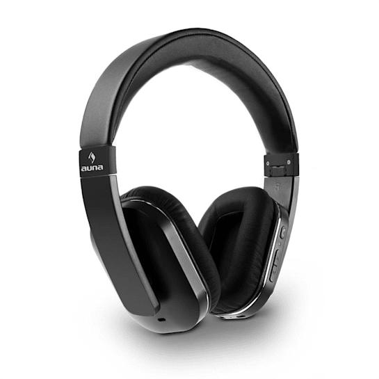 Elegance Bluetooth-NFC sluchátka, aptX, nabíjecí baterie, handsfree, syntetická kůže, černá barva