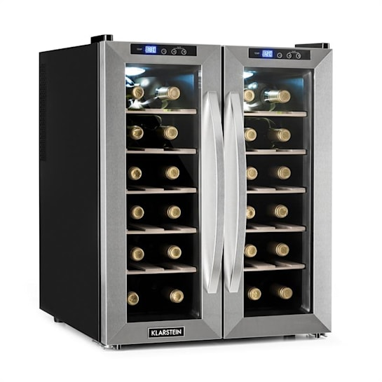 SaloonNapa Weinkühlschrank 67L 2 Glastüren 11-18°C Edelstahl