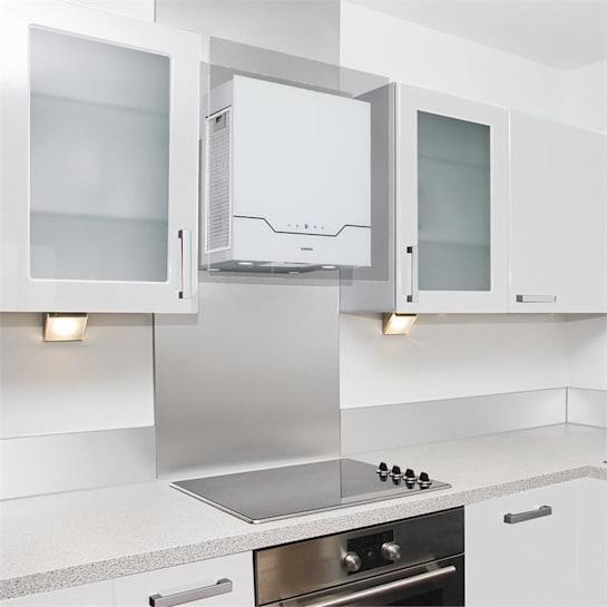 Karree digestoř 60 cm 640 m³ / h LED ušlechtilá ocel, sklo, bílá barva