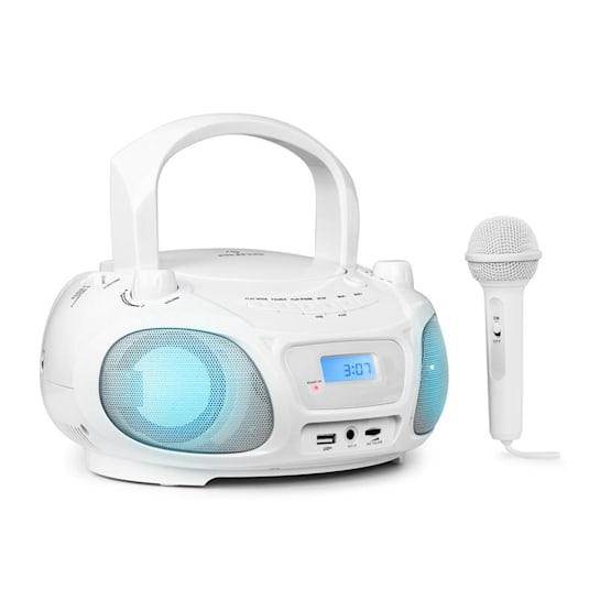 Roadie Sing Radiocassette lecteur CD MP3 radio FM Show lumineux micro blanc