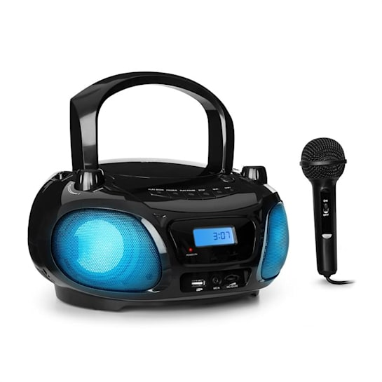 Roadie Sing CD Radiocasetera Radio FM Espectáculo de luces Reproductor de CD Micrófono negro