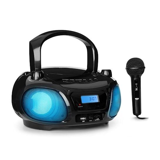 Roadie Sing Boombox lecteur CD MP3 radio FM USB Bluetooth + micro - noir