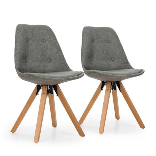 Iseo, stolička, 2-dielna sada, polstrovaná PP-konštrukcia, brezové drevo, sivá farba