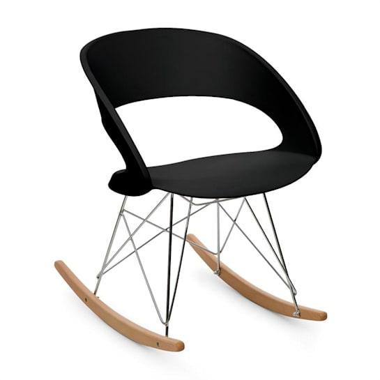 Travolta, stolica za ljuljanje, retro, PP – konstrukcija sjedišta, drvo breze, crna boja