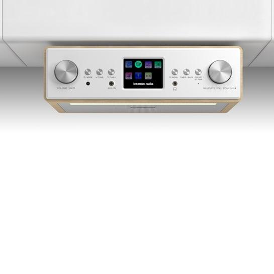 """Connect Soundchef Radio Sottopensile Da Cucina Internet DAB+ VHF Casse 2x3"""" Faggio"""
