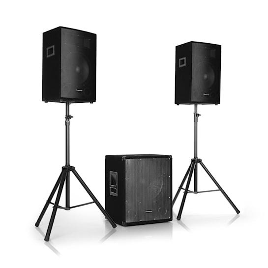 "Cube 1512 2.1 Active PA Set, 1200 Watt, 15"" Subwoofer, 2 x 12"" Speakers"