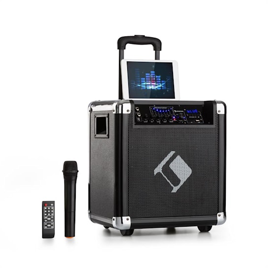 """Moving 80 PA System 8"""" Woofer 35/100 W max VHF Microphone USB SD BT AUX Mobile"""