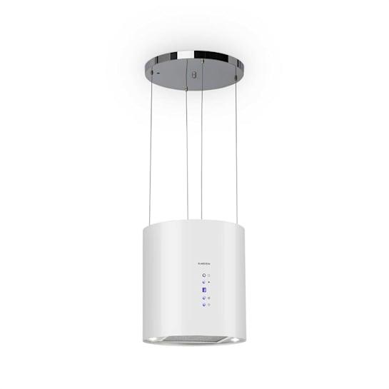 Barett Inselabzugshaube Ø35cm Umluft 560m³/h LED Aktivkohlefilter weiß