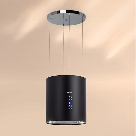 Barett, sziget páraelszívó, Ø 35 cm, légkeringetés, 560 m³/h, LED, szűrő aktív szénnel, fekete