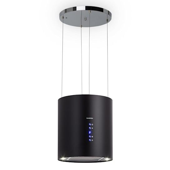 Barett, островен абсорбатор, Ø 35 cm, рециркулация 560 m³/h, LED, филтър с активен въглен, черен