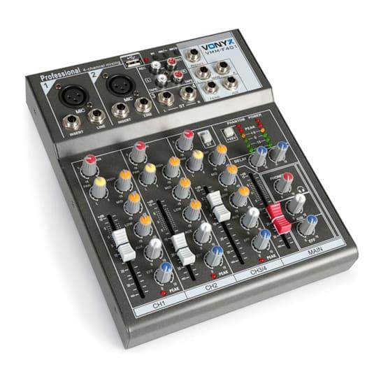 VMM-F401 4-Kanal Music Mixer USB-Player AUX-IN +48V Phantomspeisung