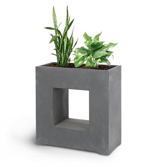 Airflor, cvetlični lonec 70 x 70 x 27 cm Fiberglas Za notranjo ali zunanjo uporabo, temno siva barva