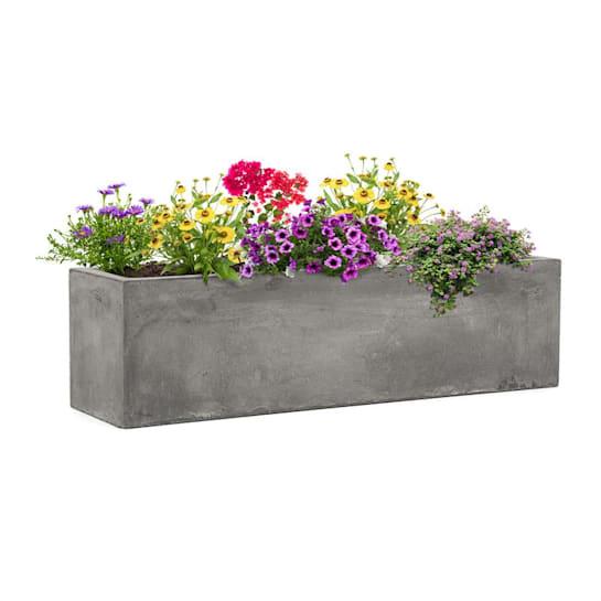 Solidflor Plant Pot 75 x 20 x 20 cm Fiberglass In/Outdoor light gray