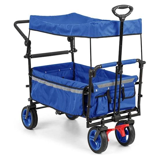 Easy Rider Bollerwagen mit Dach bis 70kg Teleskopstange blau