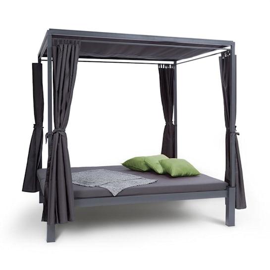 Senator Lounge Gartenliege 188x208x205cm Sonnendach Polyester Stahl grau