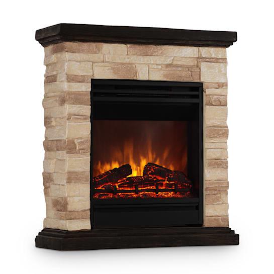 Kaprun Electric Fireplace 1800W Stone Decor Polystone Remote Control