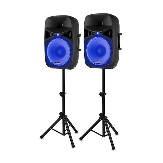 """VPS152A Set di Altoparlanti Attivi 1000 W 15"""" (38 cm) Porta USB/SD MP3 BT"""