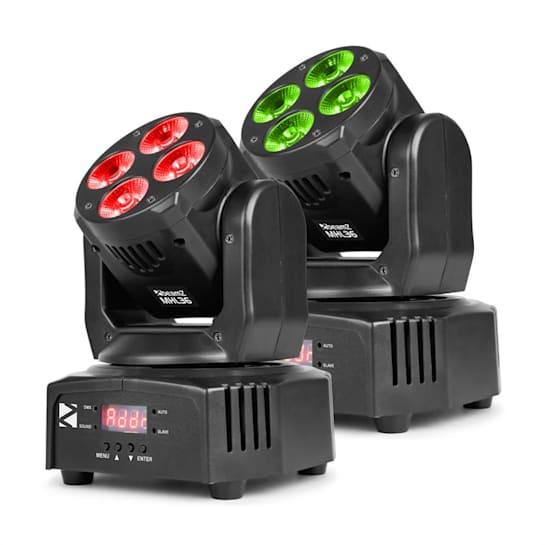 MHL36 Moving Head Set 2 Lâmpadas LED 4x9W 4 em 1 LEDs RGBW 4 Shows preto