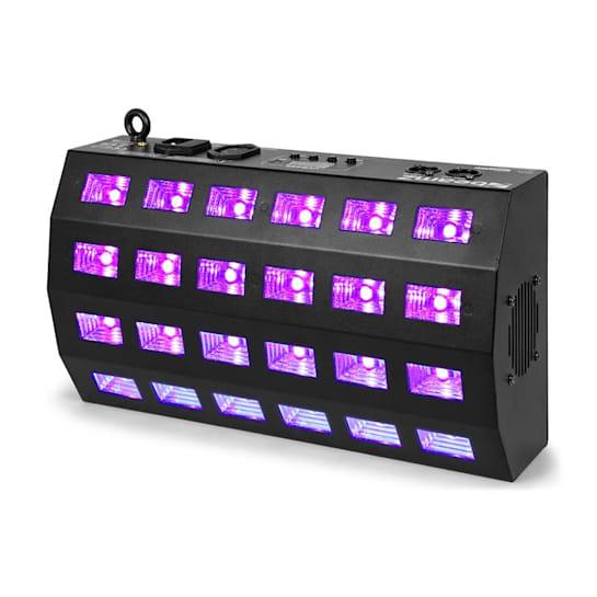 BUV463, LED UV stroboszkóp, 24x3W, DMX/Standalone, 7 DMX-csatorna, 85W, fekete