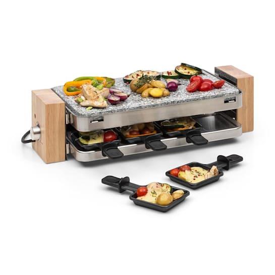 Prime-Rib Grill-Raclette, 1500 W, Piastra in Pietra, Alloggiamento Acciaio Inox