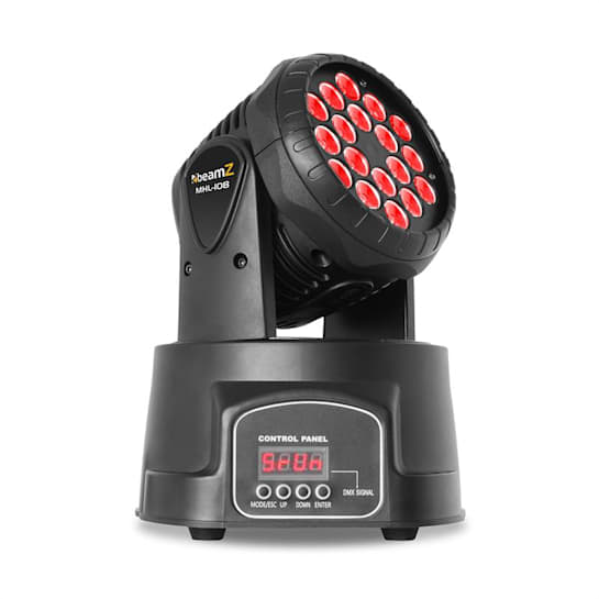 MHL Moving Head Wash 18x 3W RGB DMX Black