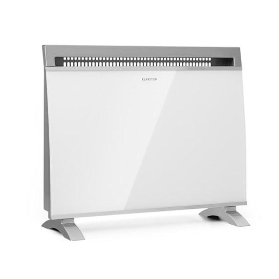 Gotland Grzejnik konwektorowy 600/ 900/ 1500 W szklany front urządzenie stojące kolor biały