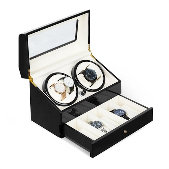 Geneva -kellonliikuttaja 4 kelloa 4 modusta vetolaatikko musta