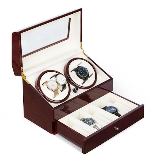 Geneva Scatola del Tempo 4 Orologi 4 Modalità Cassetto Effetto Legno di Rosa