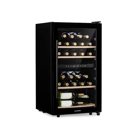 Barossa 34 Duo Weinkühlschrank 2 Zonen 34 Flaschen Glastür Touch LED schwarz