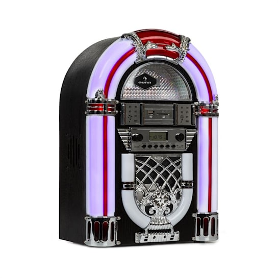 Arizona jukebox, bluetooth, FM-radio, USB, SD, MP3, CD-soitin, musta
