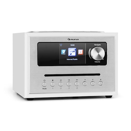 auna Silver Star CD Cube Radio Bluetooth HCC Display white