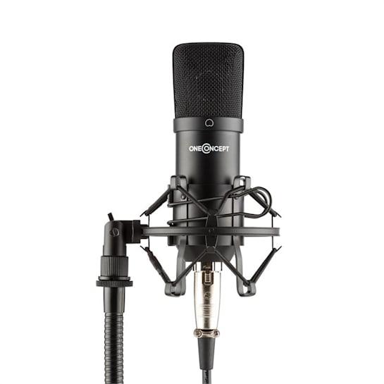 Mic-700, студиен микрофон, Ø 34 mm, кардиоден, паяк, охрана против вятър, XLR, черен