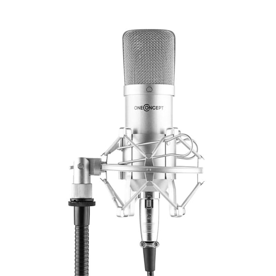 Mic-700 Studio-Mikrofon Ø34mm Uni Spinne Windschutz XLR silber