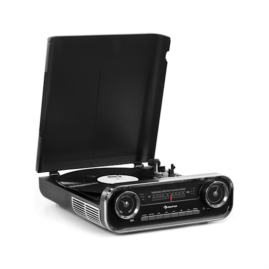 Challenger, LP gramofon, bluetooth, VHF rádio, USB, černý