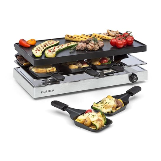 Gourmette Raclette 1200W Aluminium Grill Plate 8 People Stainless Steel