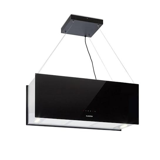 Kronleuchter XL Inselabzugshaube 90cm Umluft 590m³/h LED Touch schwarz