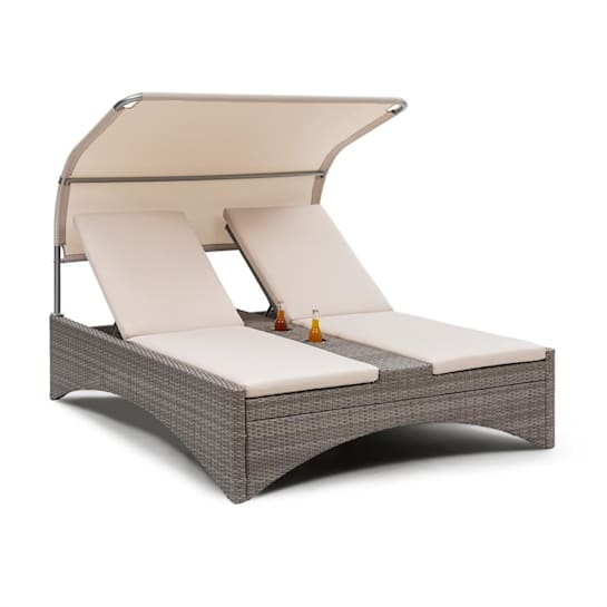 Eremitage Double Lounger Sonnenliege 2 Pers. Aluminium/Rattan taupe
