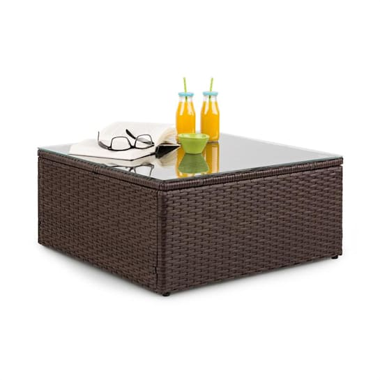 Theia Table de salon de jardin en polyrotin plateau en verre - marron