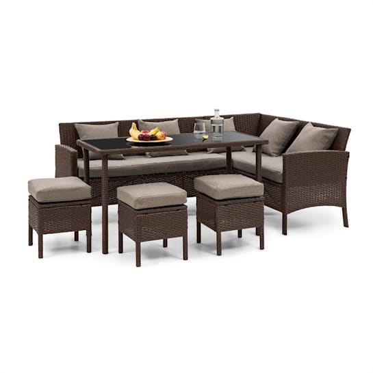 Titania Dining Lounge Set mobili da giardino angolo pranzo tavolo sgabello marrone