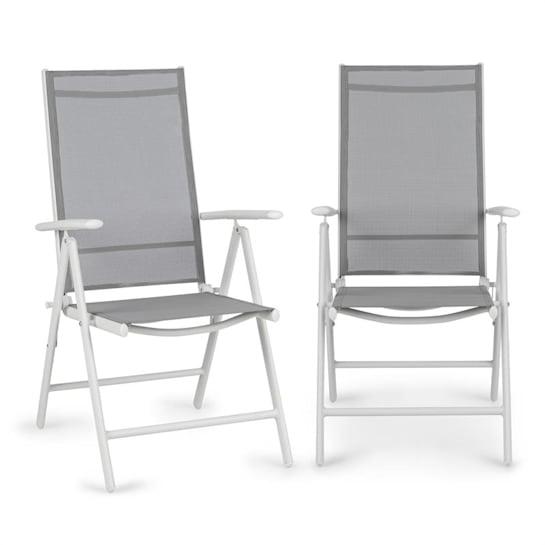 Almeria Klappstuhl 2er-Set 59,5x107x68 cm ComfortMesh Aluminium weiß/grau