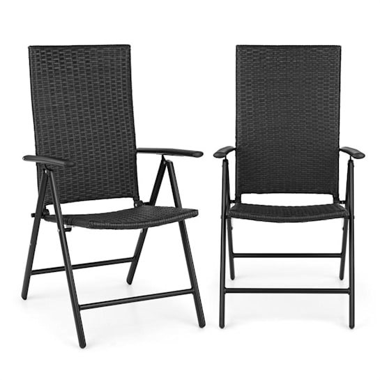 Estoril Garden Chair Poly Rattan Aluminium 7 Steps Hinged Black