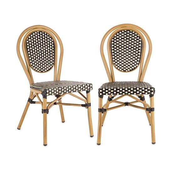 Montpellier BL stoel stapelbaar aluminium frame polyrotan zwart-crème