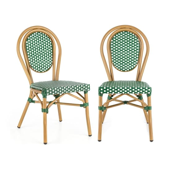 Montpellier GR sedia impilabile telaio in alluminio polirattan verde