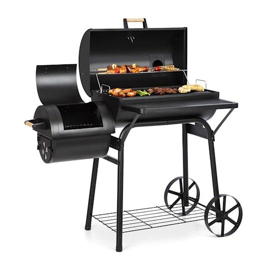 Beef Brisket roštilj s pušnicom, termometar, kotači, poklopac, crni