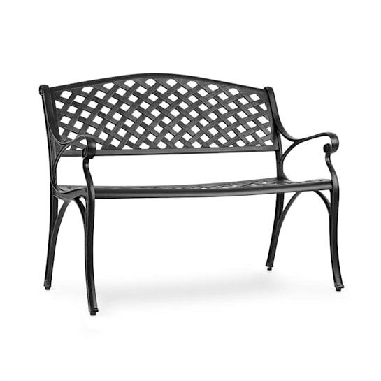 Pozzilli BL, zahradní lavička, litý hliník, odolná vůči nepřízni počasí, černá