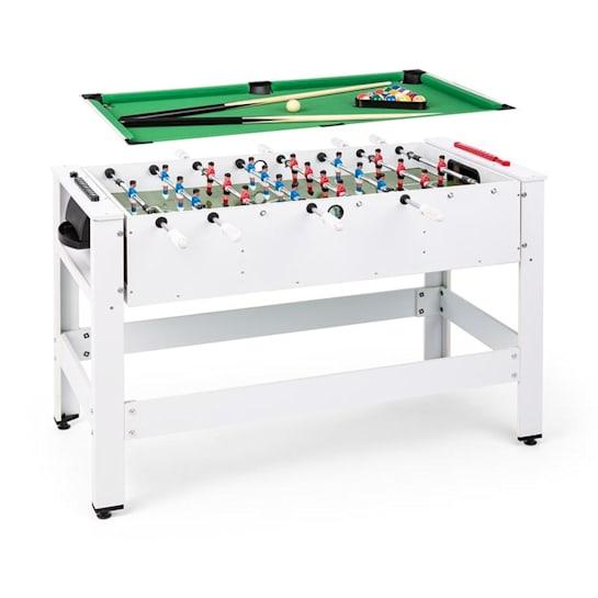 Spin 2 in 1 pelipöytä biljardi pöytäjalkapallo 180° käännettävä pelivarusteet valkoinen