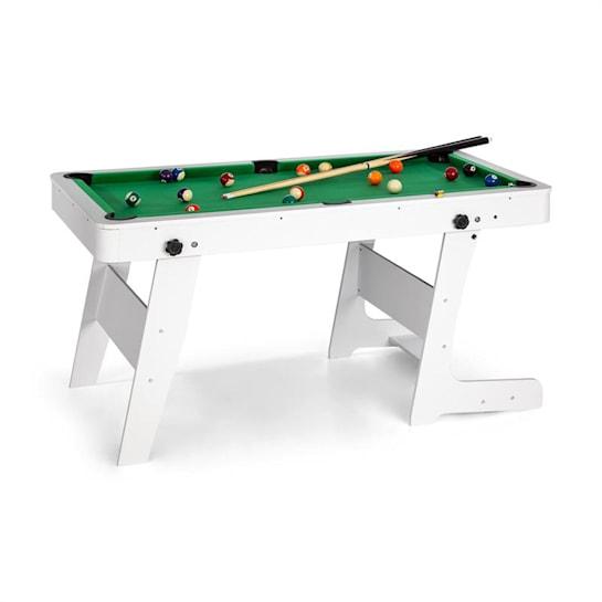 Trickshot, biliardový hrací stôl, 140x64,5cm, 16 gulí, 2 biliardové palice, MDF, biely